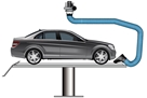 illustrated bodywork extraction arm with car